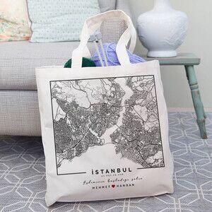 - Aşkımızın Şehri Haritalı Bez Çanta
