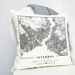 - Aşkımızın Şehri Haritalı Yastık