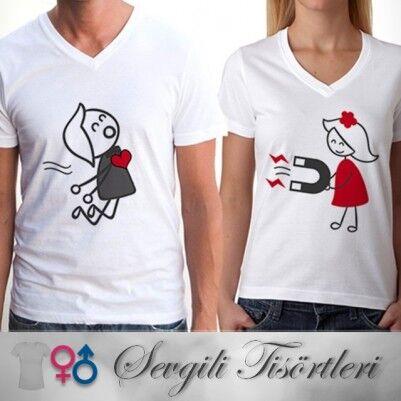 - Aşkın Çekim Gücü Sevgili Tişörtleri