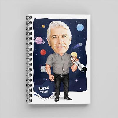 Astronomi Meraklısı Karikatürlü Defter - Thumbnail