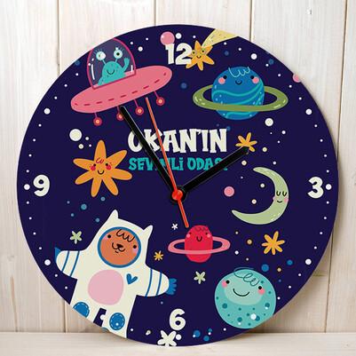 Astronot Olacağım Çocuk Duvar Saati - Thumbnail