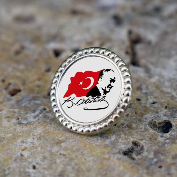 Ata ve Türk Bayrağı Yaka Rozeti
