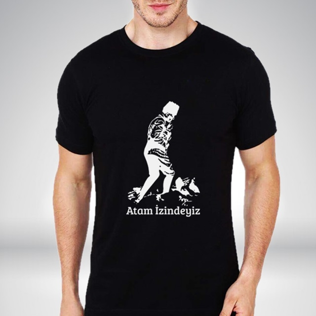 Atam İzindeyiz Siyah Erkek Tişört