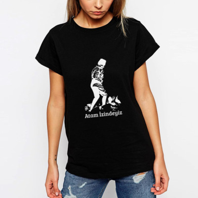 - Atam İzindeyiz Siyah Kadın Tişört