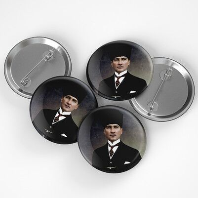 Atatürk Resimli Buton Rozet - Thumbnail