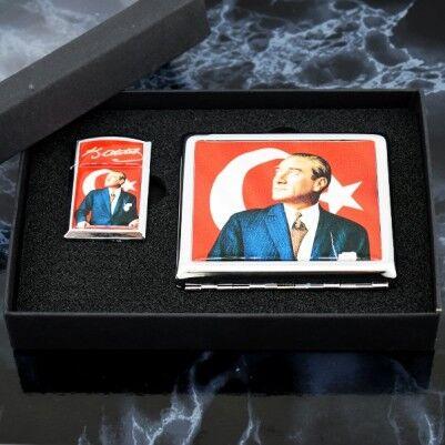 Atatürk Resimli Çakmak ve Sigara Tabakası - Thumbnail