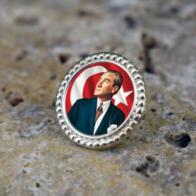 Atatürk Resimli Ceket Yaka Rozeti - Thumbnail
