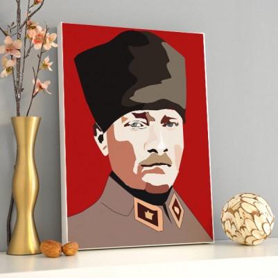 - Atatürk Resimli Kanvas Tablo