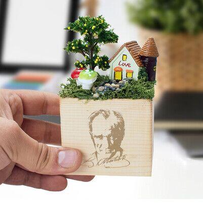 - Atatürk Resimli Bahçe Küp