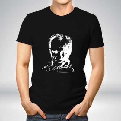 - Atatürk Silueti Siyah Erkek Tişört