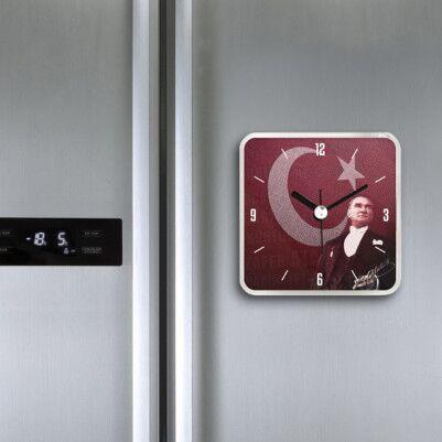 Atatürk Temalı Saatli Buzdolabı Magneti - Thumbnail