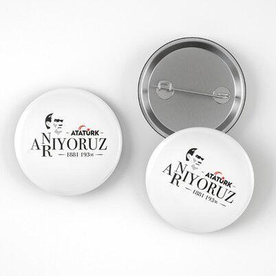 Atatürk'ü Anıyoruz Buton Rozet - Thumbnail