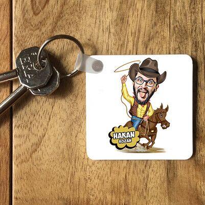 - Atlı Kovboy Karikatürlü Anahtarlık
