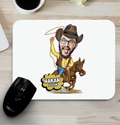 - Atlı Kovboy Karikatürlü Mouse Pad