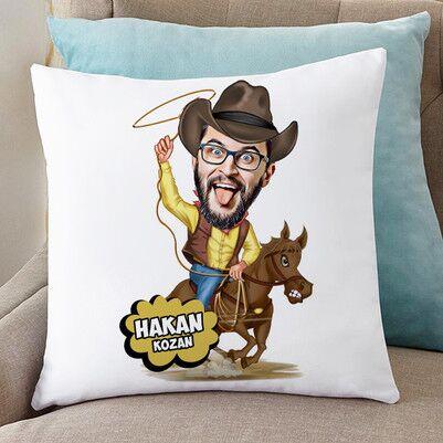 - Atlı Kovboy Karikatürlü Yastık