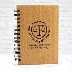 Avukata Hediye Ahşap Kapaklı Defter - Thumbnail