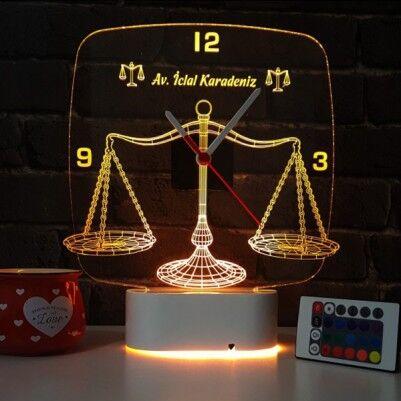 - Avukata Özel 3D LED Lamba Saat