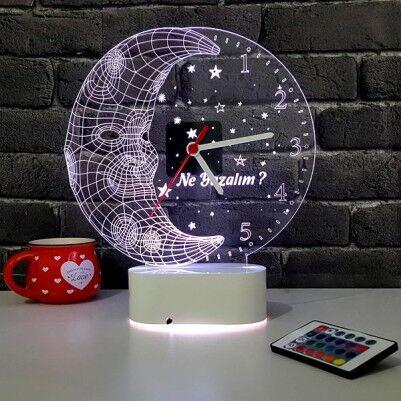- Ay Dede Tasarımlı 3D LED Saat Lamba