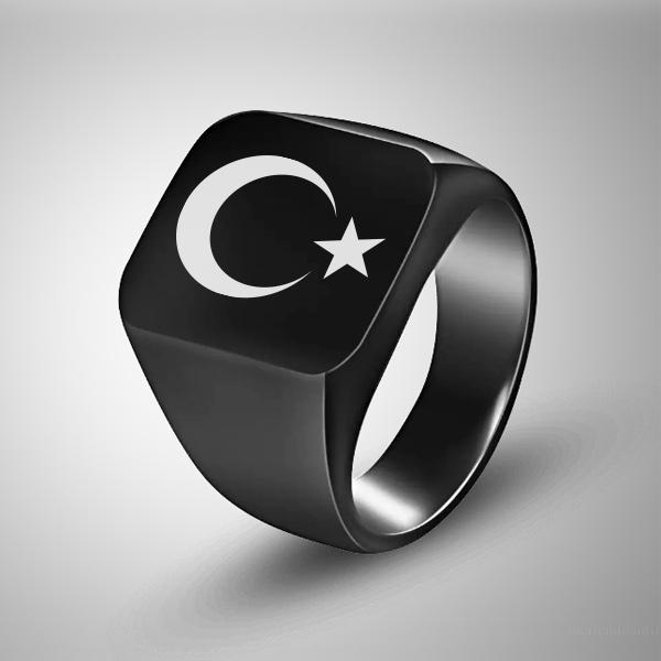 Ay Yıldız Bayrak Temalı Erkek Yüzüğü