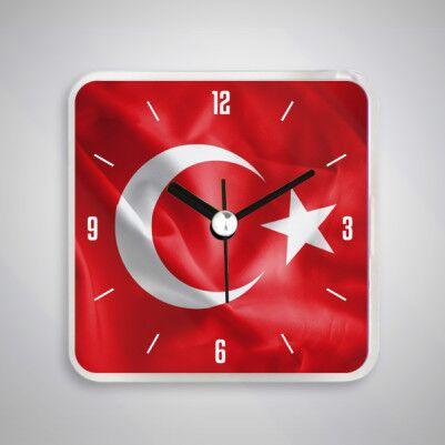- Ay Yıldızlı Türk Bayrağı Saatli Buzdolabı Magneti