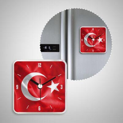 Ay Yıldızlı Türk Bayrağı Saatli Buzdolabı Magneti - Thumbnail