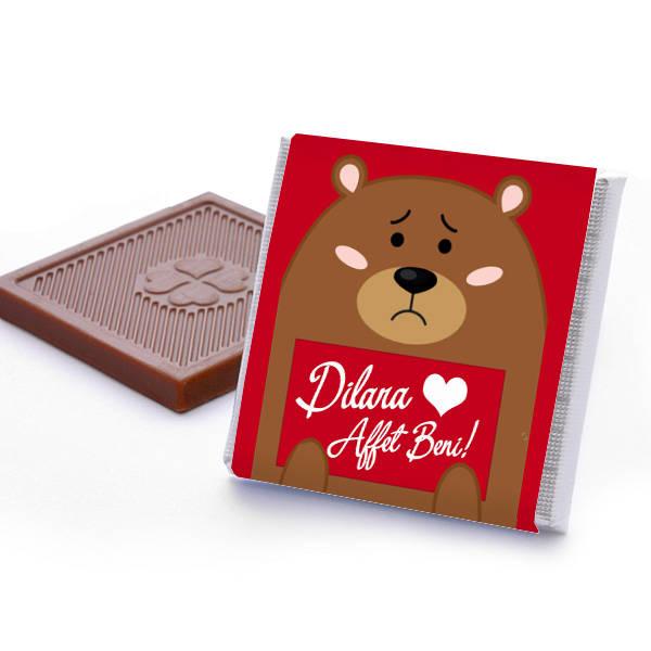 Ayıcık Etiketli Özür Dilerim Çikolatası