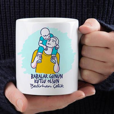 Baba ve Evladı Duygusal Kupa Bardak - Thumbnail
