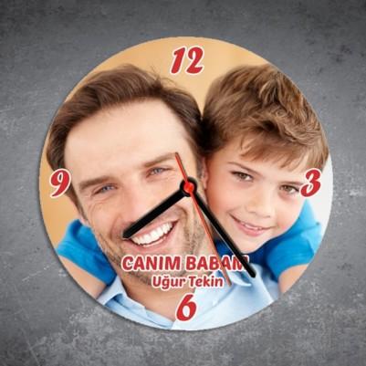 - Babalar Gününe Özel Fotoğraf Baskılı Duvar Saati