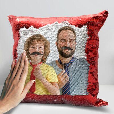 Babalara Özel Sihirli Yastık Kırmızı Pullu - Thumbnail