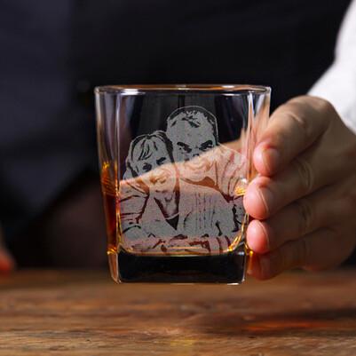 - Babaya Hediye Fotoğraflı Viski Bardağı
