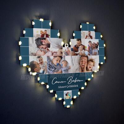 - Babaya Hediye Işıklı Kalp Pano