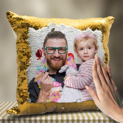 Babaya Hediye Sihirli Yastık Gold - Thumbnail