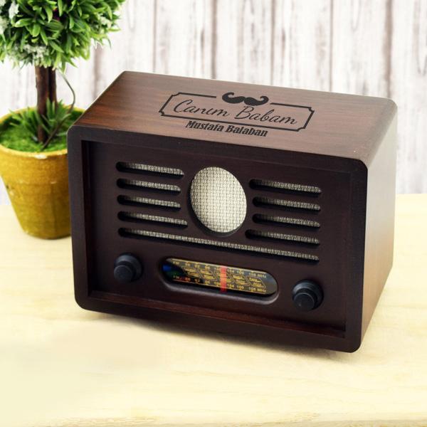 Babaya Özel Nostaljik Ahşap Radyo