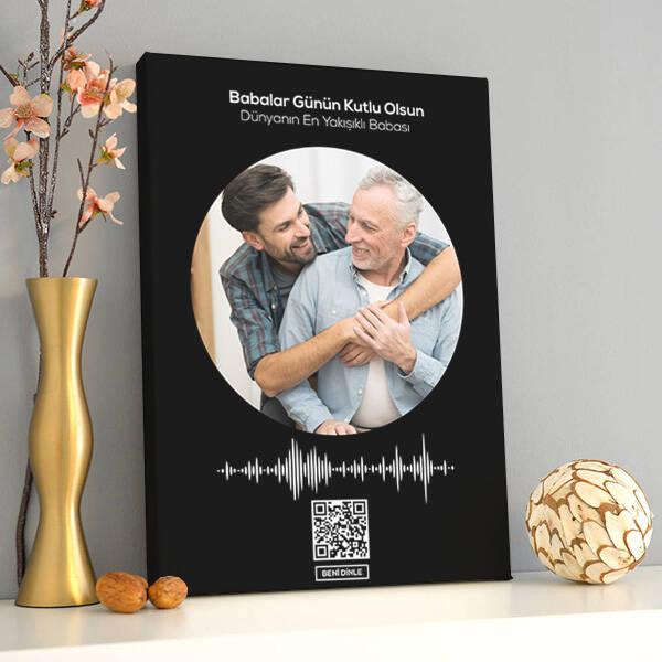 Babaya Özel Ses İzi Fotoğraflı Kanvas Tablo