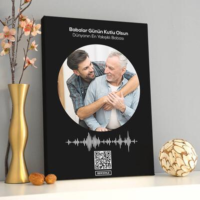 Babaya Özel Ses İzi Fotoğraflı Kanvas Tablo - Thumbnail