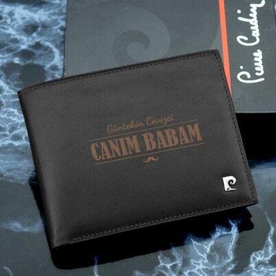 Babaya Özel Siyah Pierre Cardin Cüzdan - Thumbnail