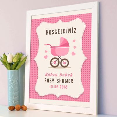 Baby Shower Posteri Bebek Arabası Temalı - Thumbnail