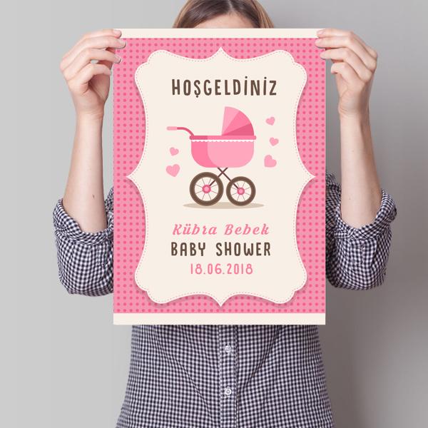 Baby Shower Posteri Bebek Arabası Temalı