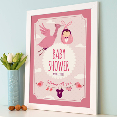 Baby Shower Posteri Leylek Temalı - Thumbnail