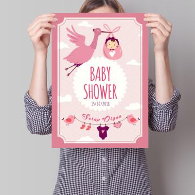 - Baby Shower Posteri Leylek Temalı