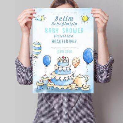 Baby Shower Posteri Yaş Pasta Temalı - Thumbnail
