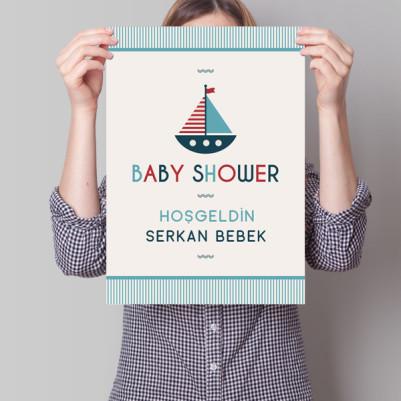 - Baby Shower Posteri Yelkenli Gemi Temalı