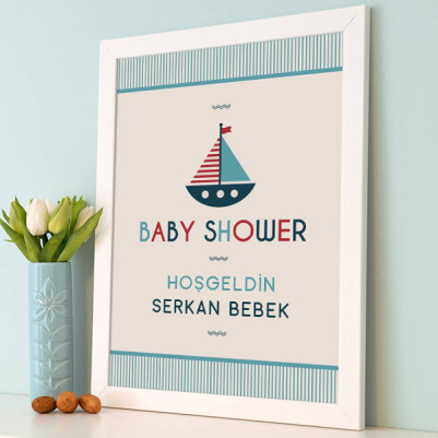 Baby Shower Posteri Yelkenli Gemi Temalı - Thumbnail