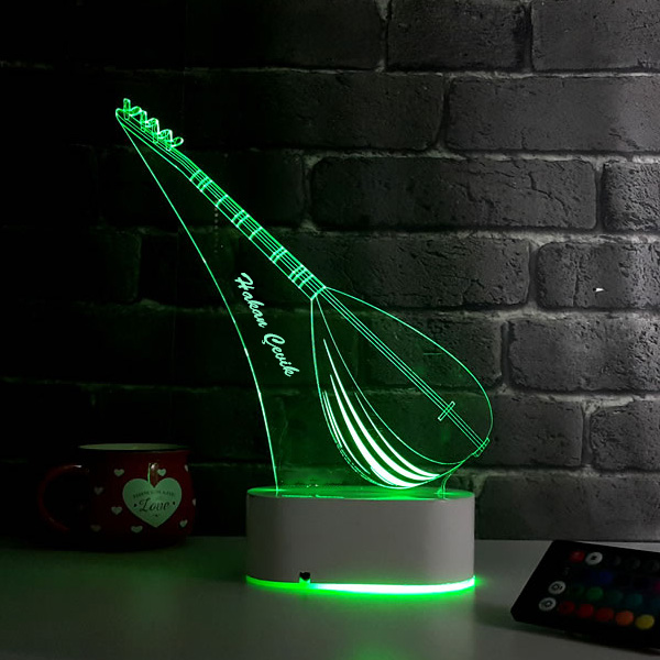 Bağlama Saz Temalı 3D LED Lamba
