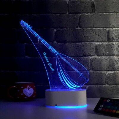 Bağlama Saz Temalı 3D LED Lamba - Thumbnail