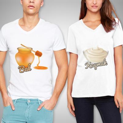 - Bal ve Kaymak Beyaz Sevgili Tişörtleri