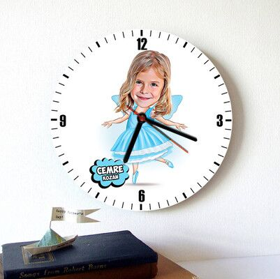 - Balerin Kız Karikatürlü Duvar Saati