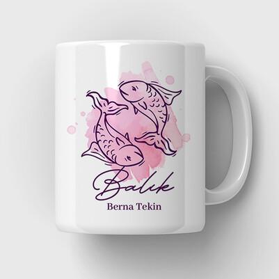 Balık Burcuna Hediye Kupa Bardak - Thumbnail