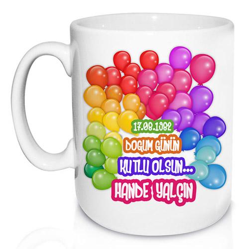 Balon Desenli Doğum Günü Kupa Bardak