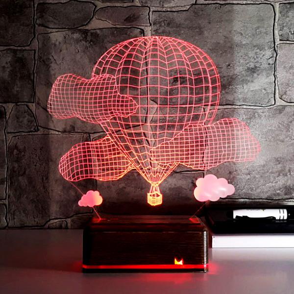 Balon ve Bulutlar 3D Led Lamba